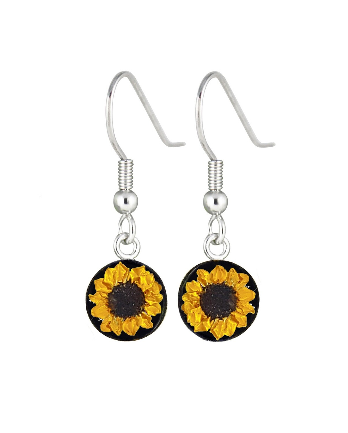 Sunflower, Small Circle Earrings, Black Background.