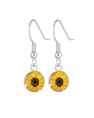 Sunflowers, Small Circle Hanging Earrings, White Background.