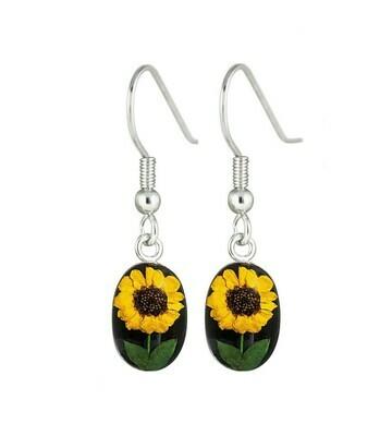 Sunflower, Oval Hanging Earrings, Black Background