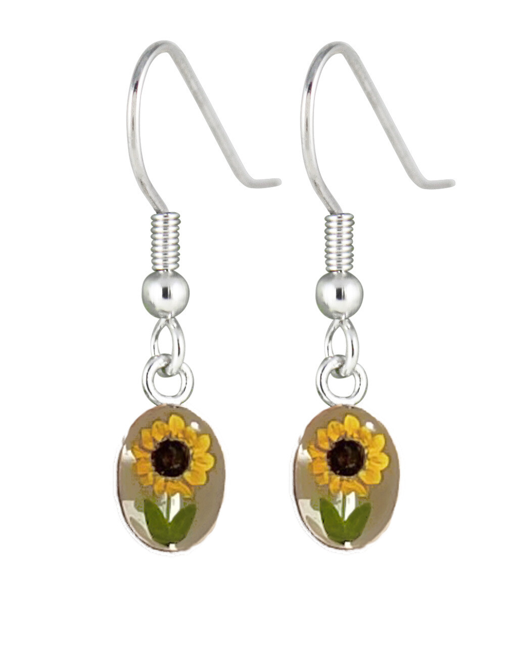Sunflower, Oval Hanging Earrings, White Background.