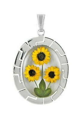 Sunflower Necklace, X-Large Oval, White Background