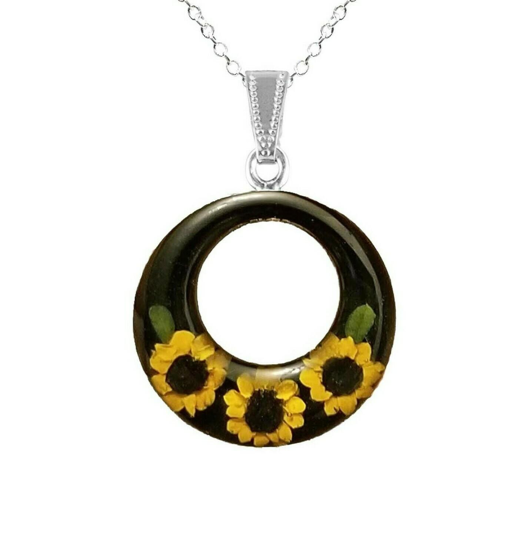 Sunflower Necklace, Large Full Moon, Black Background