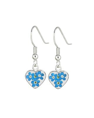 Forget-Me-Not, Small Heart Hanging Earrings, Transparent