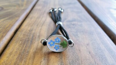 Forget-Me-Not, Oval Shape, Leather Bracelet, Transparent
