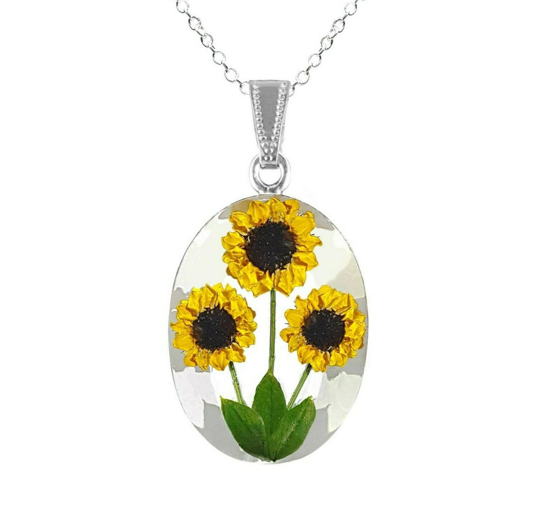 Sunflower Necklace, Large Oval, White Background