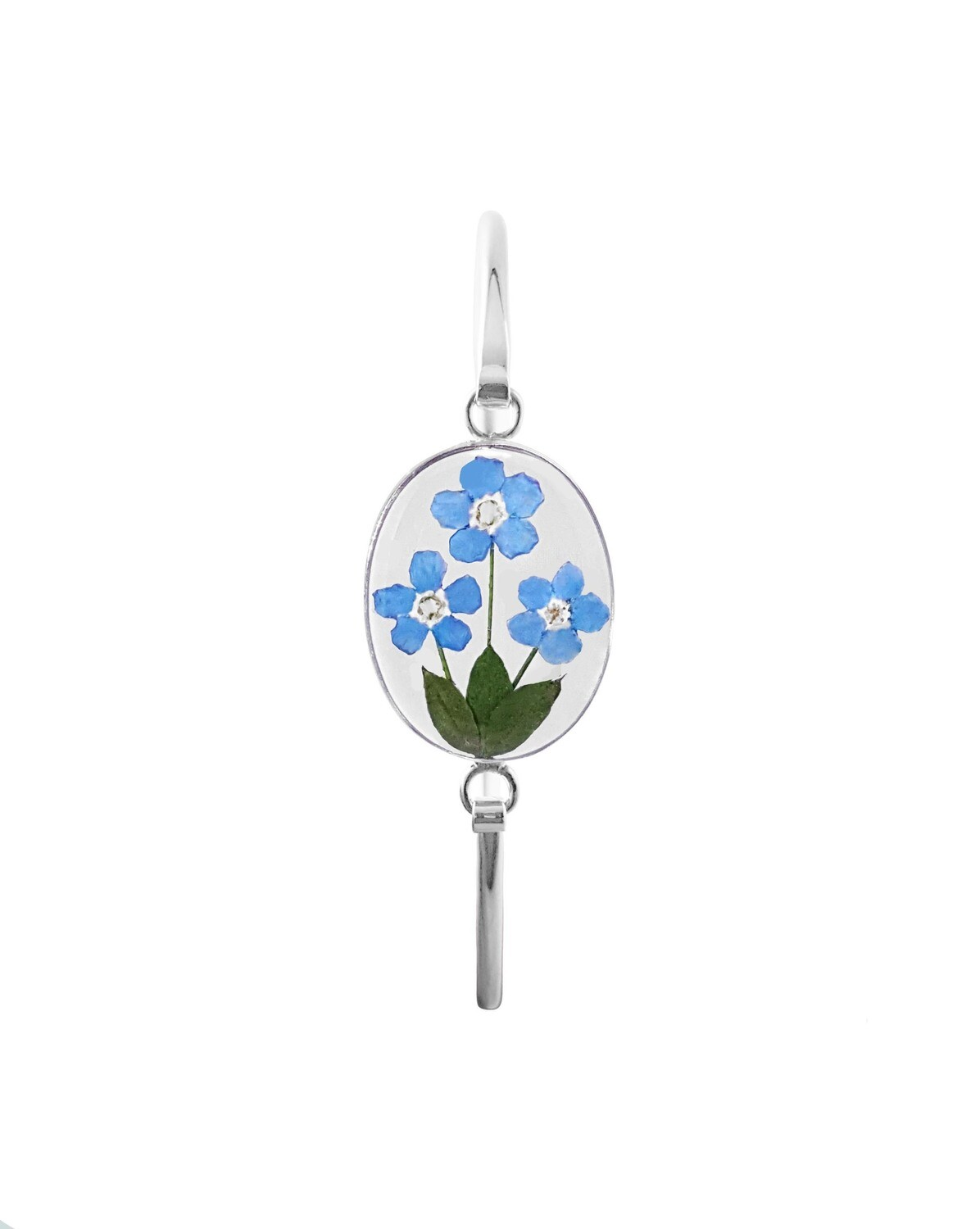 Real Forget-Me-Not Oval Bracelet, Transparent