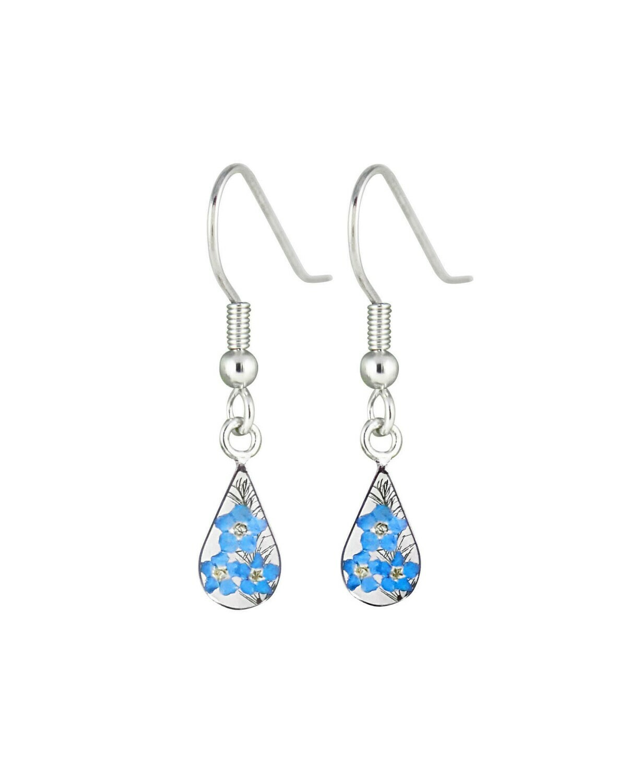 Forget-Me-Not, Teardrop Hanging Earrings, Transparent