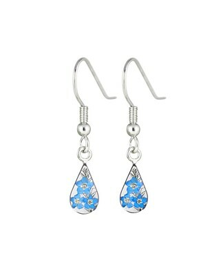 Forget-Me-Not, Teardrop Hanging Earrings, Transparent