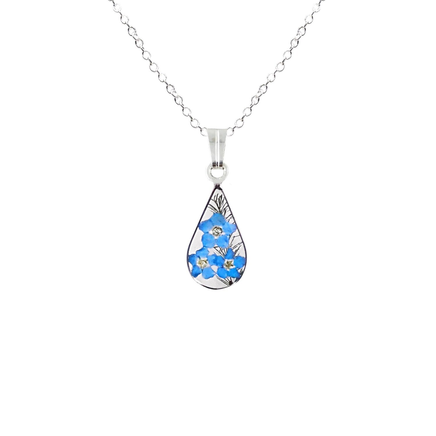 Forget-Me-Not Necklace, Small Teardrop, Transparent