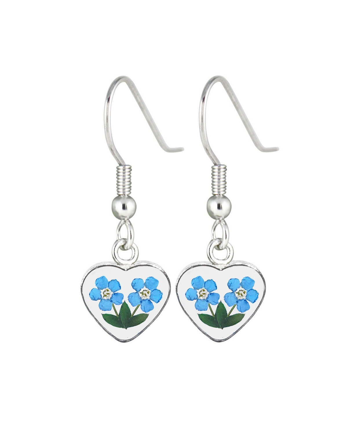 Forget-Me-Not, Heart Hanging Earrings, Transparent