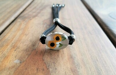 Sunflowers Oval Leather Bracelet, White Background