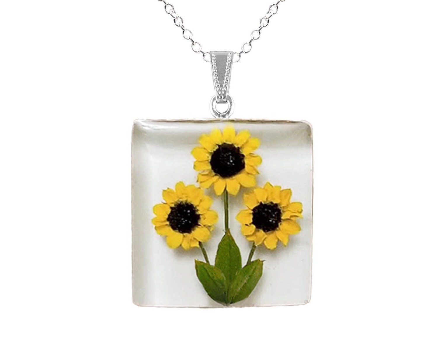 Sunflower Necklace, Large Square, White Background