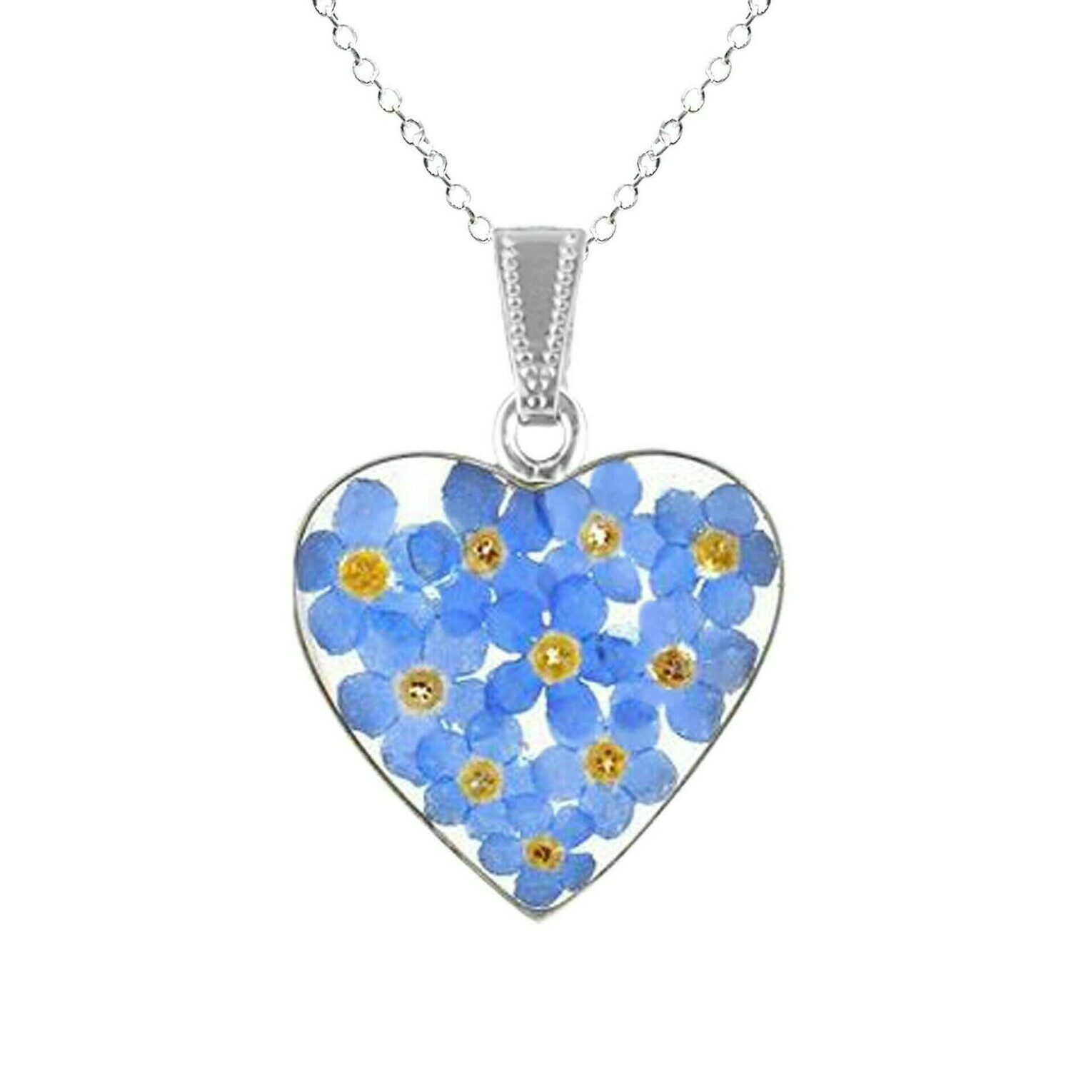 Forget-Me-Not Necklace, Large Heart, Transparent