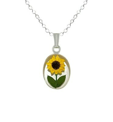 Sunflower Necklace, Small Oval, White Background