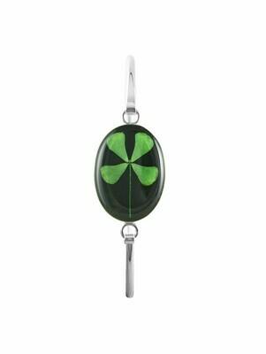 Four-Leaf Clover, Oval Bracelet, Black Background