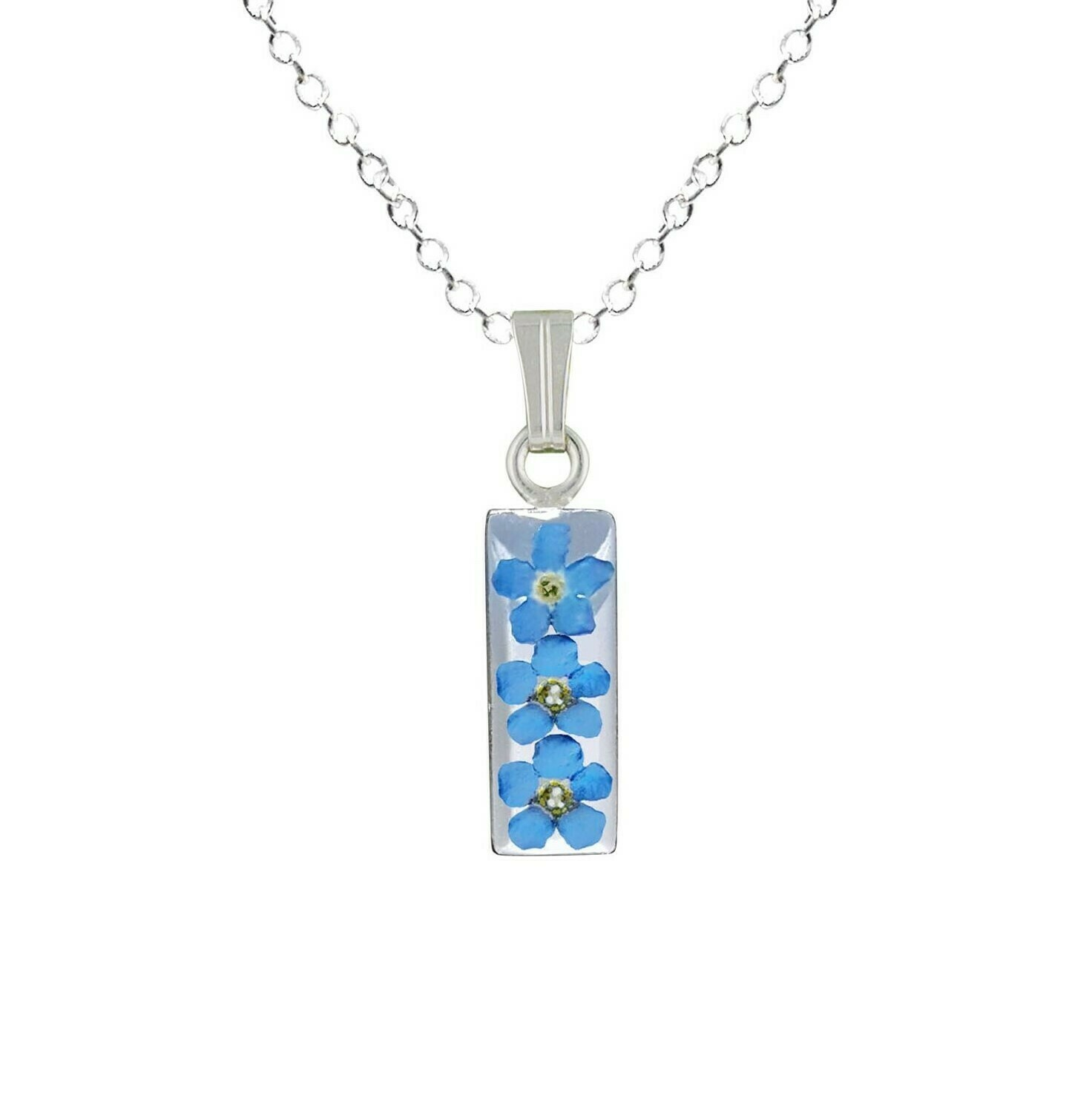 Forget-Me-Not Necklace, Small Rectangle, White Background