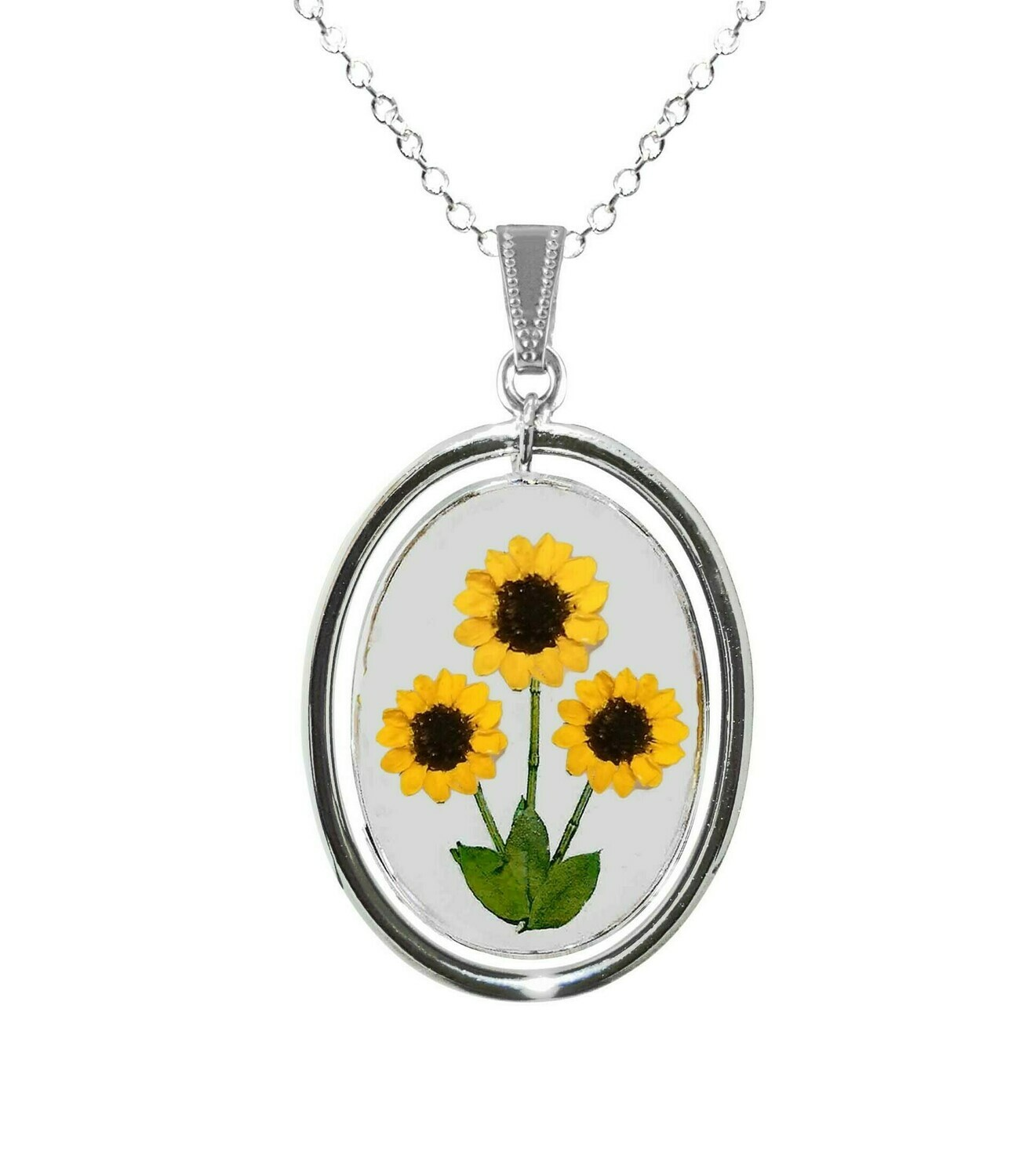 Sunflower Necklace, X-Large Swivel Oval, Transparent