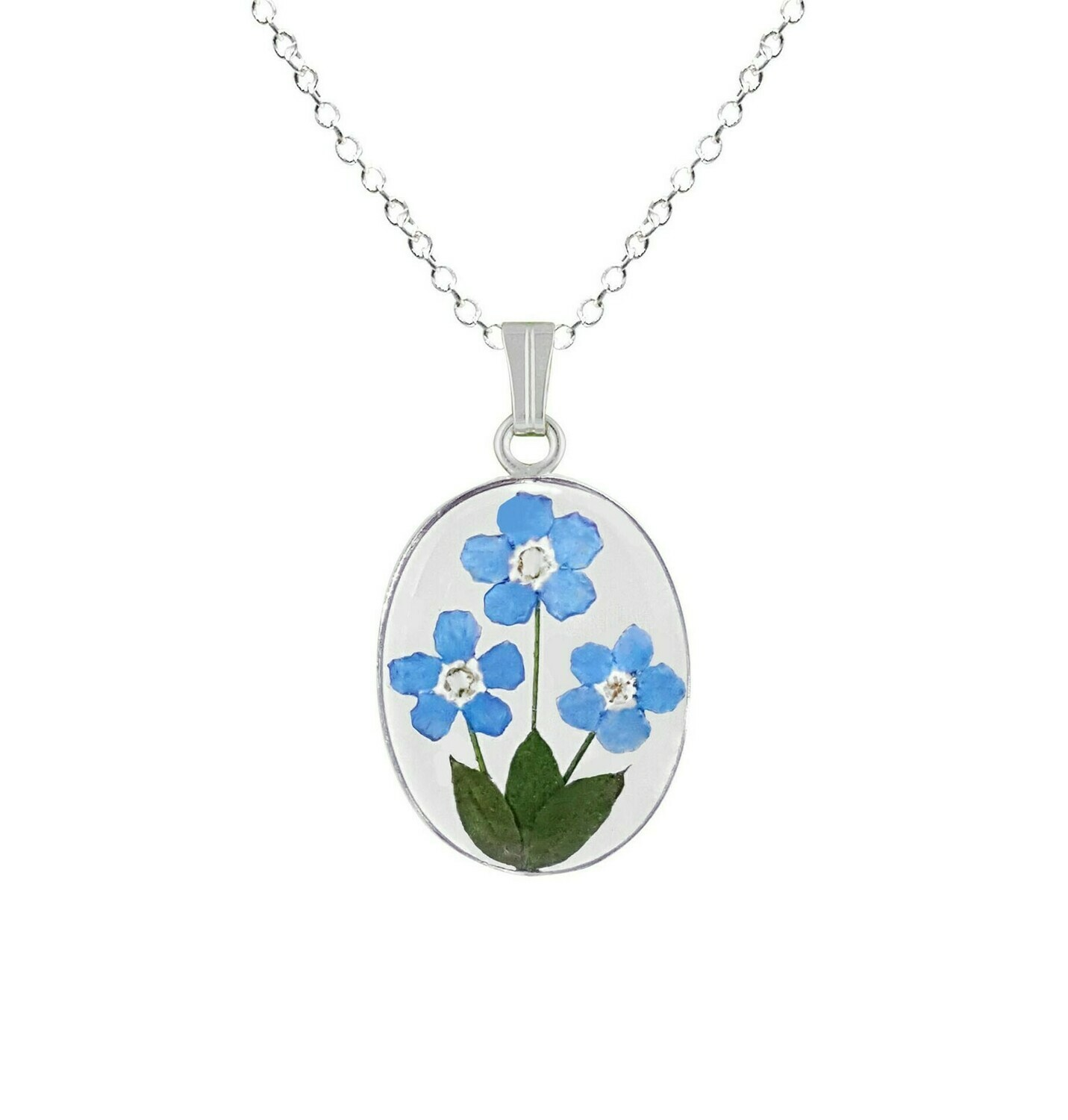 Forget-Me-Not Necklace, Medium Oval, Transparent