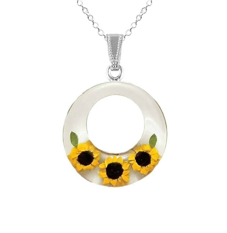 Sunflower Necklace, Large Full Moon, White Background