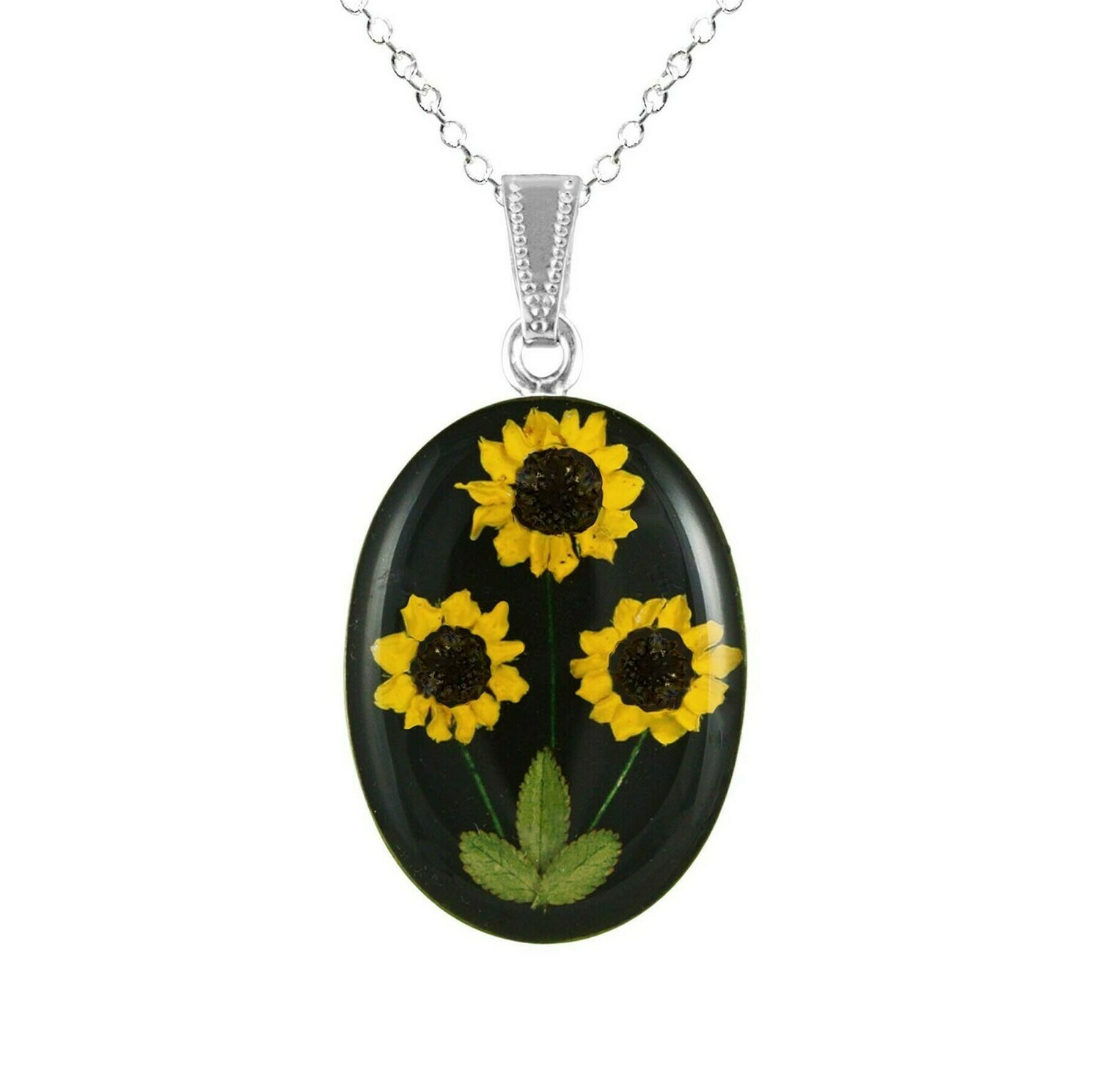 Sunflower Necklace, Large Oval, Black Background