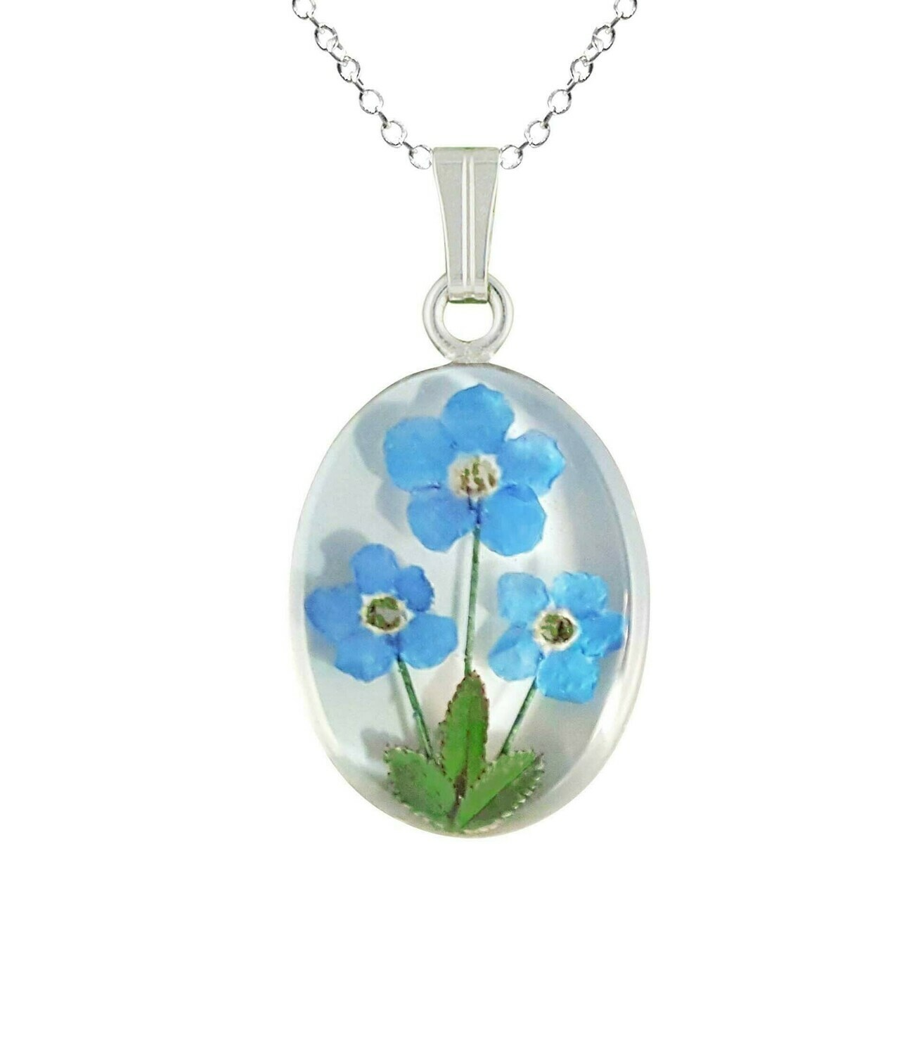 Forget-Me-Not Necklace, Medium Oval, White Background