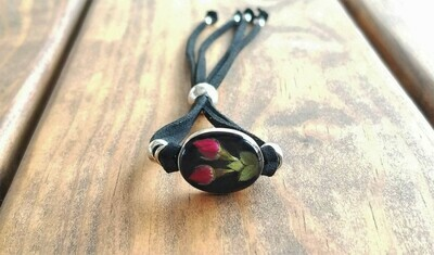 Roses Oval Leather Bracelet, Black Background