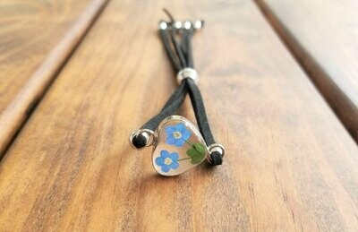 Forget-Me-Not, Heart Leather Bracelet,  Transparent