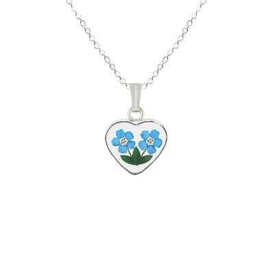 Forget-Me-Not Necklace, Small Heart, Transparent
