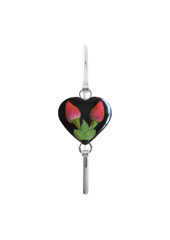 Roses, Heart Bracelet, Black Background.
