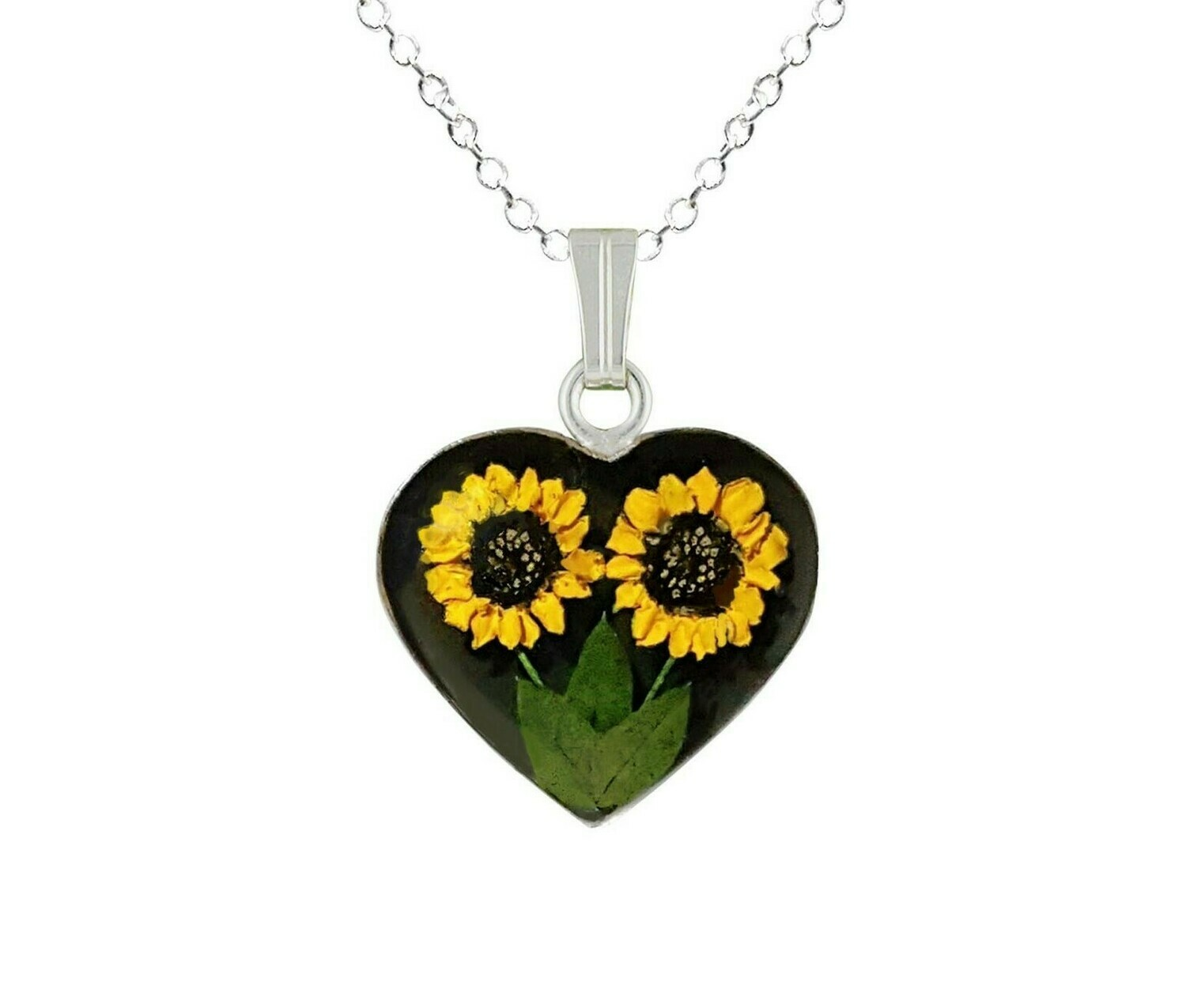 Sunflower Necklace, Medium Heart, Black Background