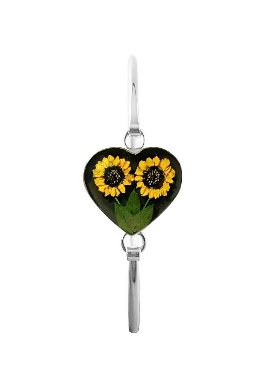 Sunflower Bracelet, Heart shape on Black Background.