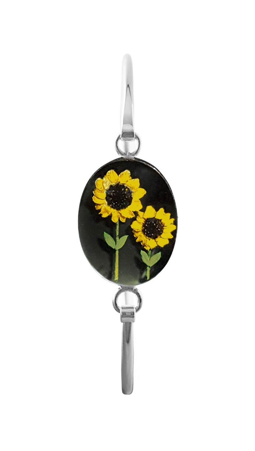 Sunflowers, Medium Oval Bracelet, Black Background.