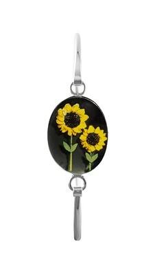 Sunflowers, Medium Oval Bracelet, Black Background.
