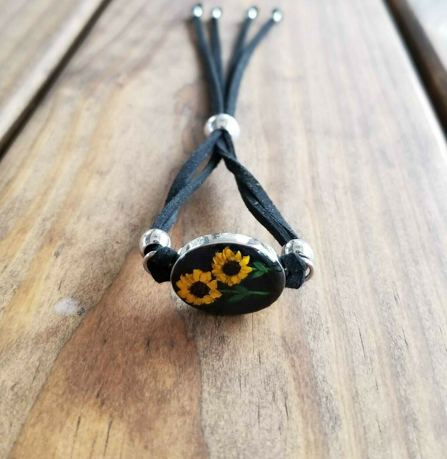 Sunflowers Oval Leather Bracelet, Black Background