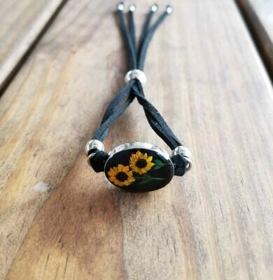 Sunflowers Oval Leather Bracelet, Black Background