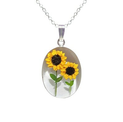 Sunflower Necklace, Medium Oval, White Background