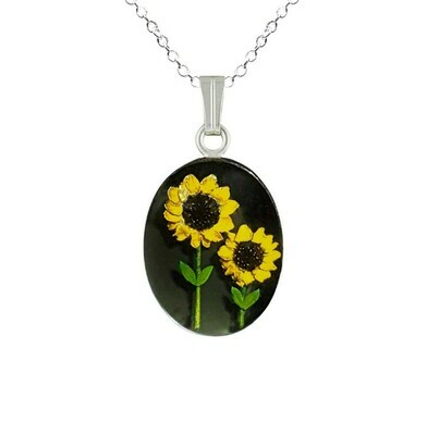 Sunflower Necklace, Medium Oval, Black Background