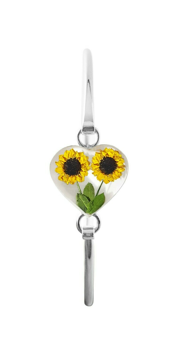 Sunflower Bracelet, Heart shape on White Background.