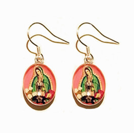 Rhodium Plated n1 oval hanging earring,pink, with, virgen gpe