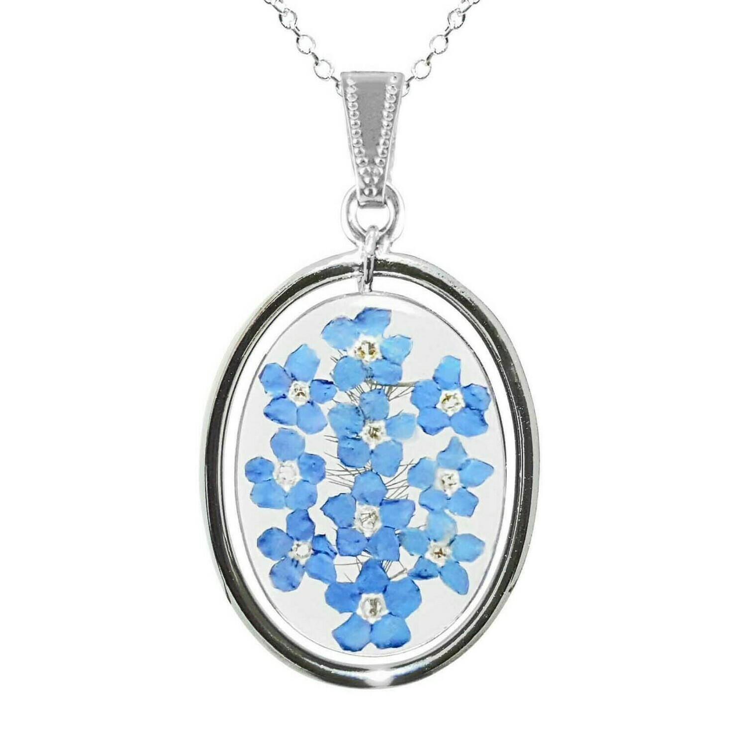 Forget-Me-Not Necklace, Oval Medallion, Transparent