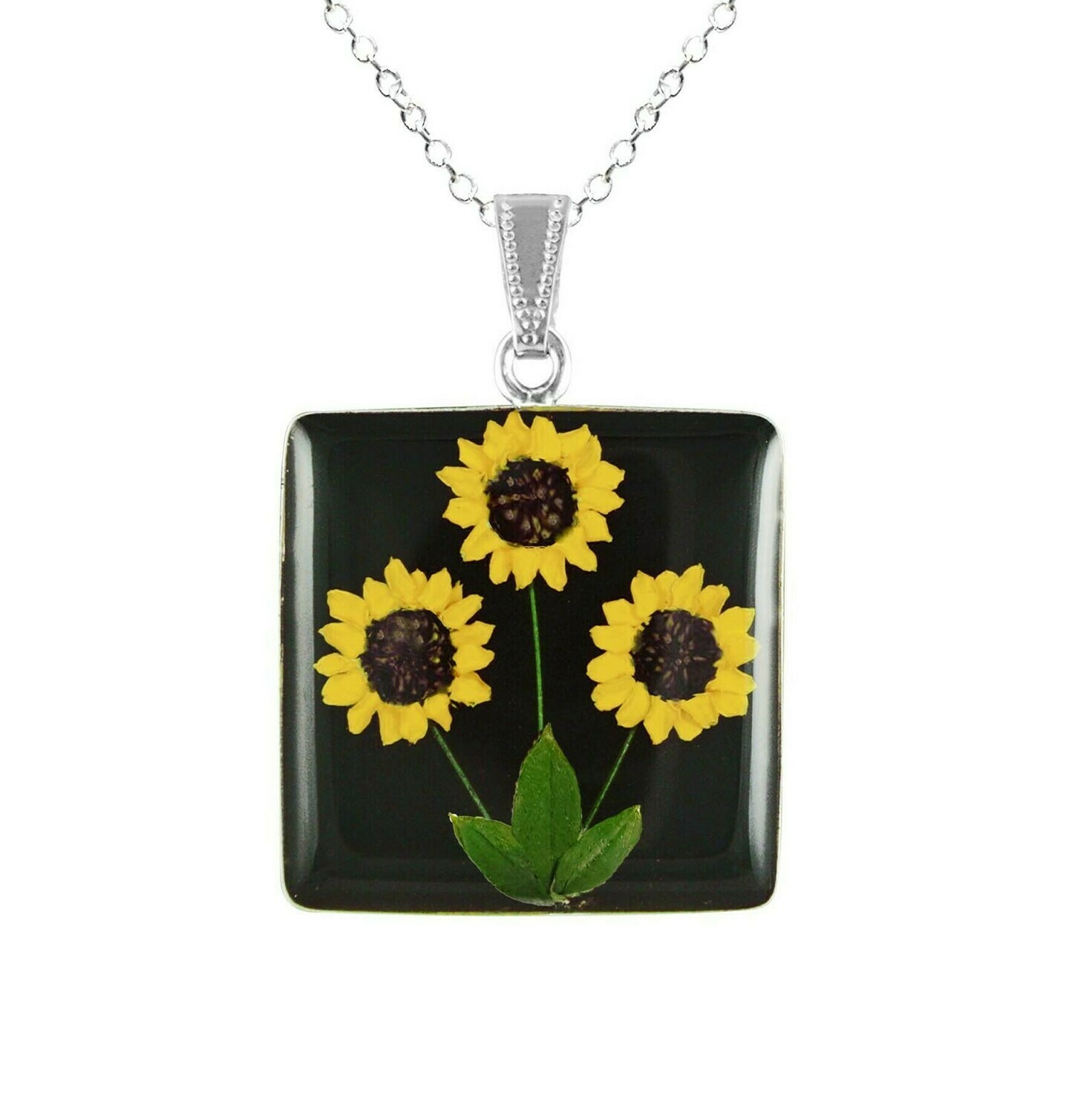 Sunflower Necklace, Large Square, Black Background