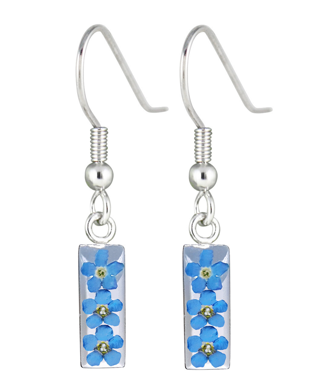 Real Forget-Me-Not, Rectangle Earrings, White Background