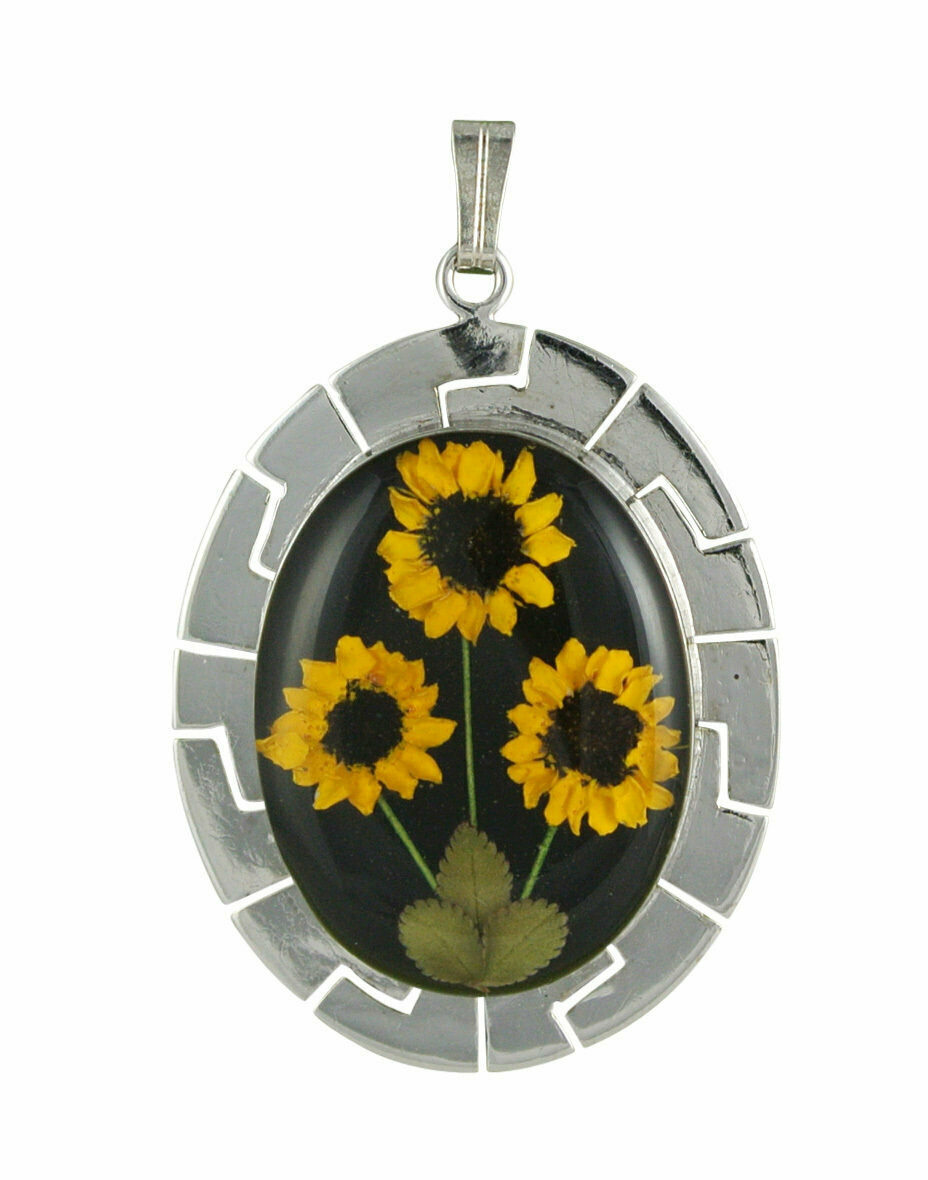 Sunflower Necklace, X-Large Oval, Black Background