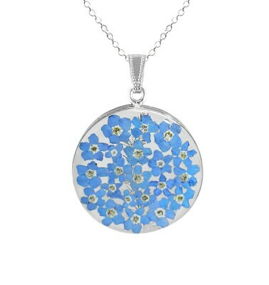 Forget-Me-Not Necklace, Large Circle, Transparent