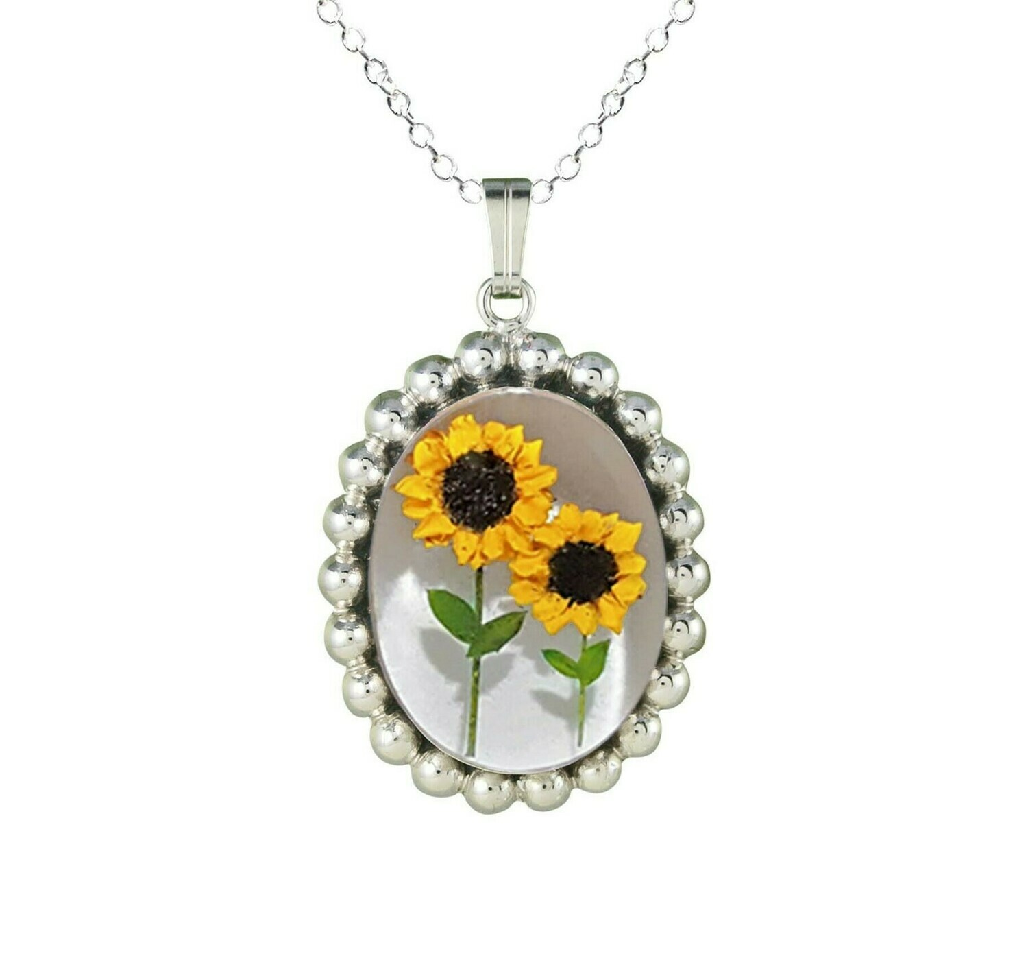 Sunflower Necklace, Large Medallion, White Background