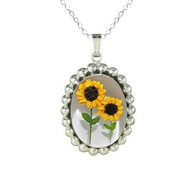 Sunflower Necklace, Pellet Medallion, White Background