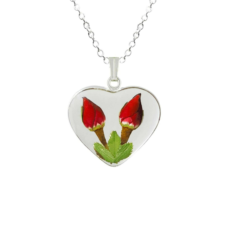 Rose Necklace, Medium Heart, Transparent Background