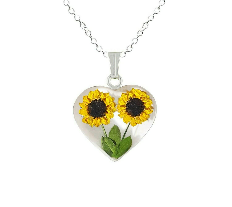 Sunflower Necklace, Medium Heart, White Background