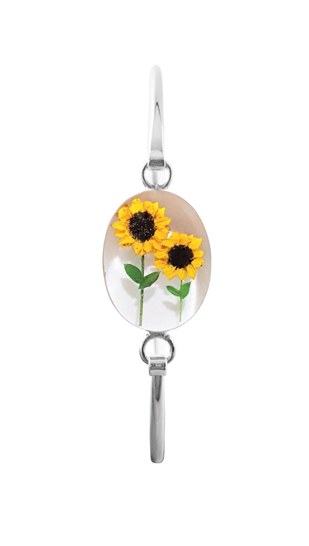 Sunflower Bracelet, Oval shape on White Background.