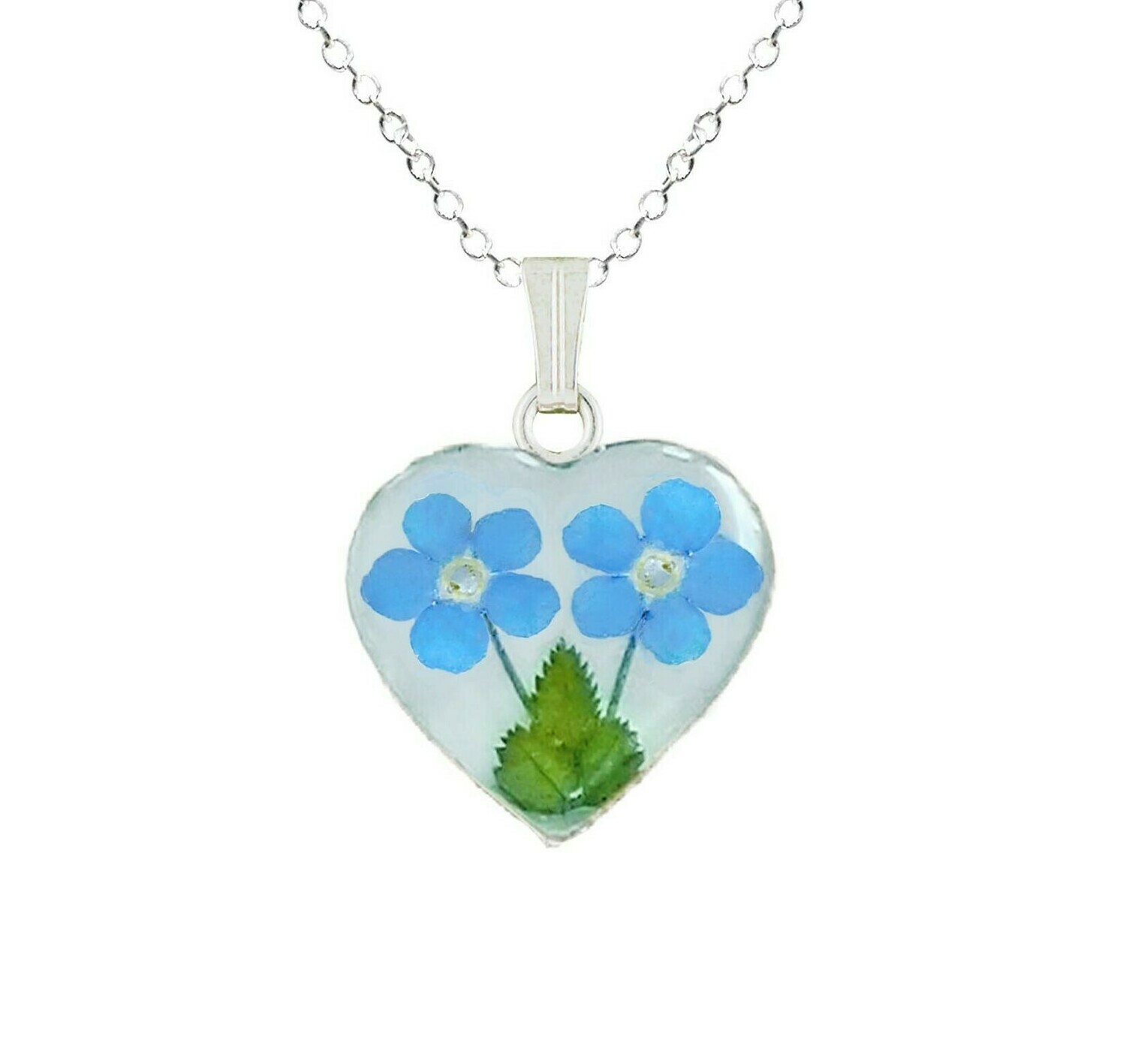Forget-Me-Not Necklace, Medium Heart, White Background